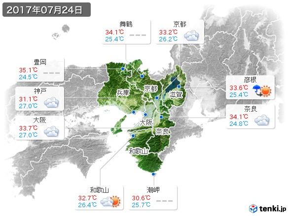 近畿地方(2017年07月24日の天気