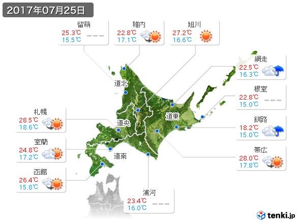 北海道地方(2017年07月25日の天気
