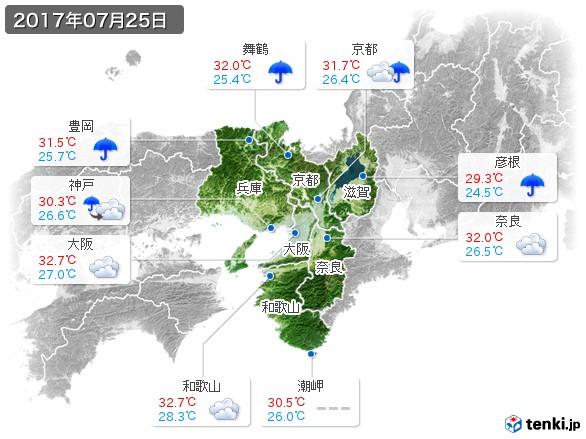 近畿地方(2017年07月25日の天気