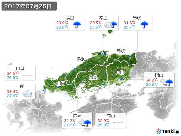 中国地方(2017年07月25日の天気