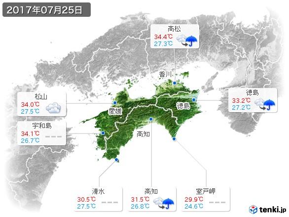 四国地方(2017年07月25日の天気