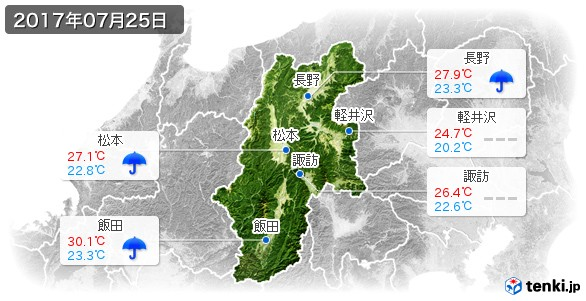 長野県(2017年07月25日の天気