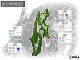 2017年08月08日の長野県の実況天気