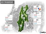2017年08月09日の長野県の実況天気