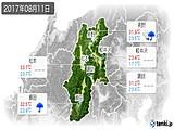 2017年08月11日の長野県の実況天気