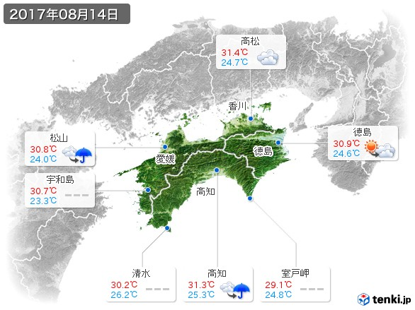 四国地方(2017年08月14日の天気