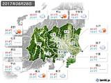 2017年08月28日の関東・甲信地方の実況天気
