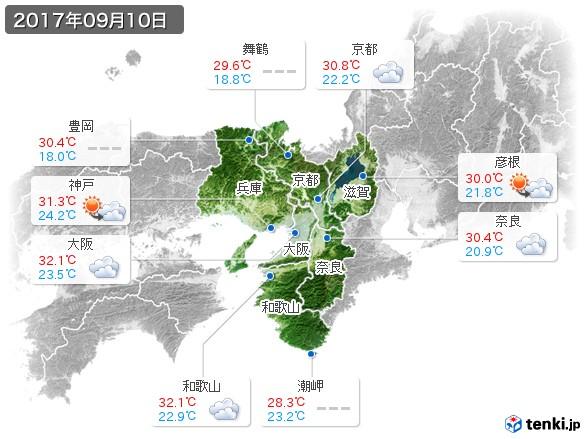 近畿地方(2017年09月10日の天気