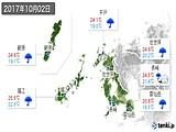 2017年10月02日の長崎県の実況天気