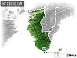 2017年10月13日の和歌山県の実況天気