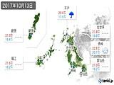 2017年10月13日の長崎県の実況天気