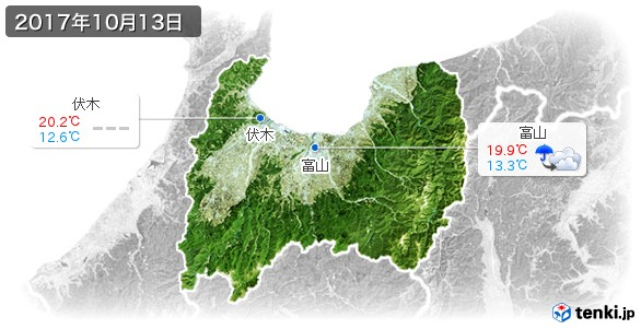 富山県(2017年10月13日の天気