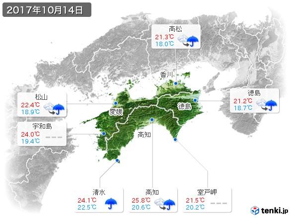 四国地方(2017年10月14日の天気