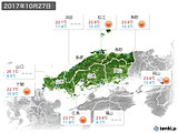 2017年10月27日の中国地方の実況天気