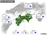 2017年10月28日の四国地方の実況天気