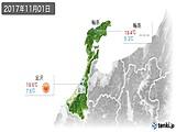2017年11月01日の石川県の実況天気