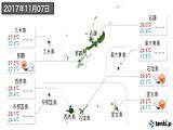 2017年11月07日の沖縄県の実況天気