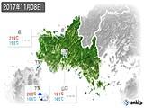 2017年11月08日の山口県の実況天気