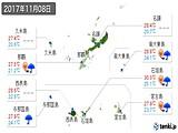 2017年11月08日の沖縄県の実況天気