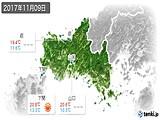 2017年11月09日の山口県の実況天気