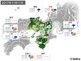 2017年11月11日の近畿地方の実況天気
