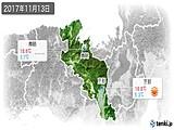 2017年11月13日の京都府の実況天気