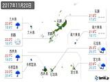 2017年11月20日の沖縄県の実況天気