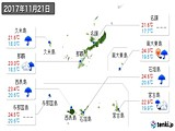 2017年11月21日の沖縄県の実況天気