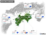 2017年11月22日の四国地方の実況天気