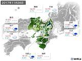 2017年11月26日の近畿地方の実況天気