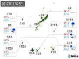 2017年11月26日の沖縄県の実況天気