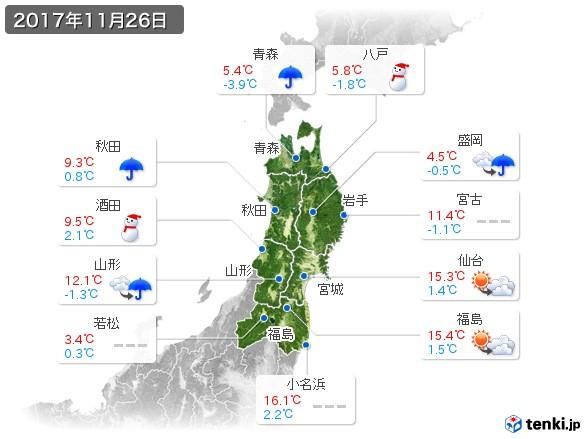 東北地方(2017年11月26日の天気