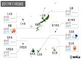 2017年11月28日の沖縄県の実況天気