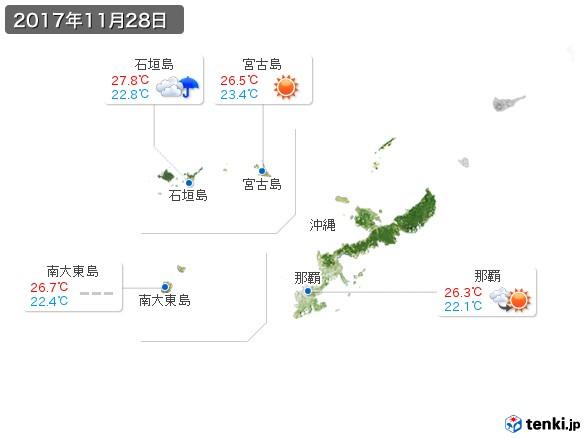 沖縄地方(2017年11月28日の天気