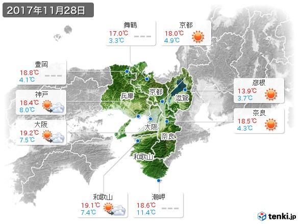 近畿地方(2017年11月28日の天気