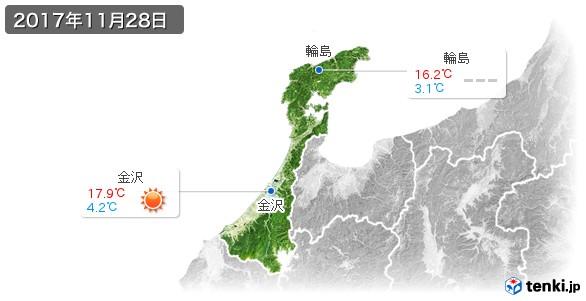 石川県(2017年11月28日の天気