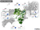 2017年11月29日の近畿地方の実況天気