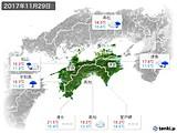 2017年11月29日の四国地方の実況天気
