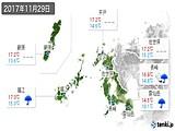 2017年11月29日の長崎県の実況天気