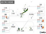 2017年11月29日の沖縄県の実況天気