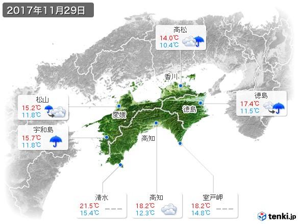 四国地方(2017年11月29日の天気