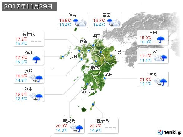 九州地方(2017年11月29日の天気
