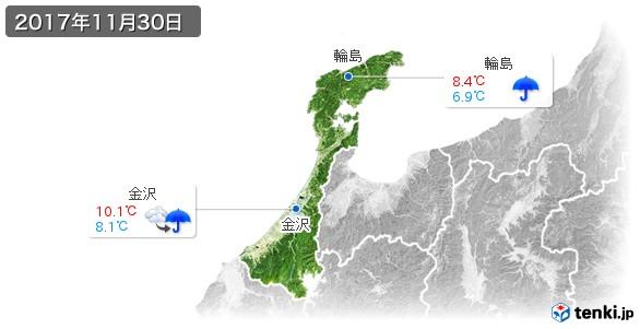 石川県(2017年11月30日の天気