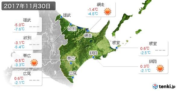 道東(2017年11月30日の天気
