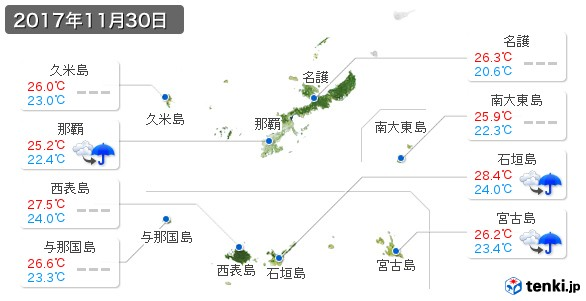 沖縄県(2017年11月30日の天気