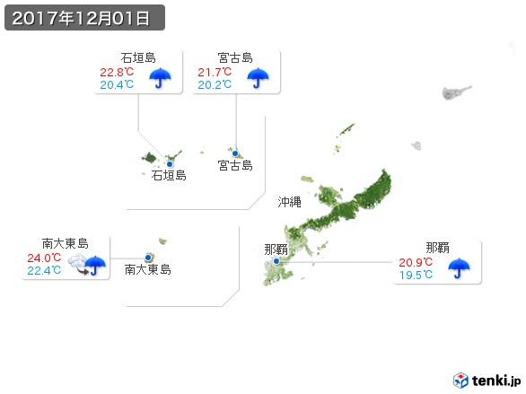 沖縄地方(2017年12月01日の天気