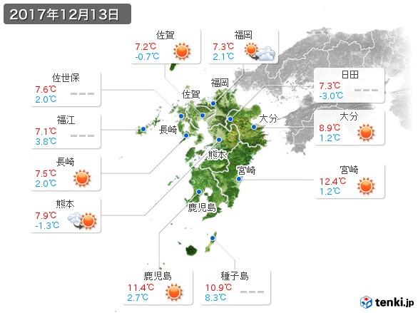九州地方(2017年12月13日の天気