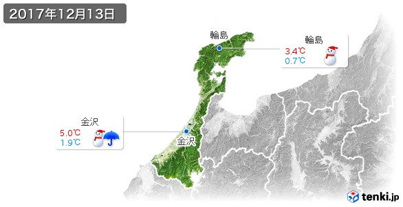 石川県(2017年12月13日の天気