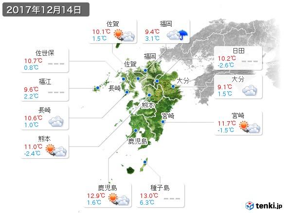 九州地方(2017年12月14日の天気