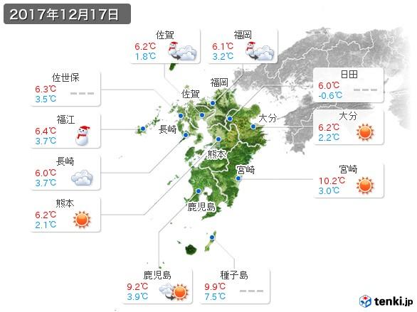 九州地方(2017年12月17日の天気